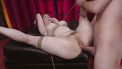 Awesome destined up busty redhead Lauren Phillips is hammered missionary style