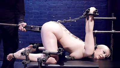Beauteous surrounding strict device bondage is toyed