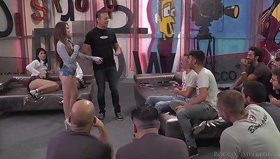 Big anal gangbang with skinny sluts Elle Rose and Kiara Gold