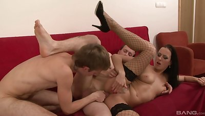 MILF in sexy fishnet, first trine fuck in hardcore