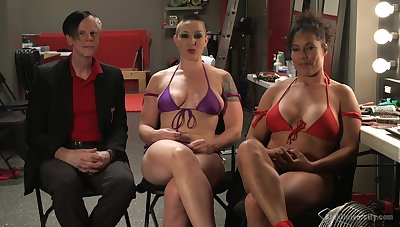 Busty babe Ariel X gets dominated away from strong woman Mistress Kara