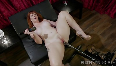 Red haired plumper Barbary Rose is search new sex machine increased by vibrator