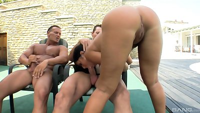 Outdoor threesome screwing with natural knockers wife Angelica Heart