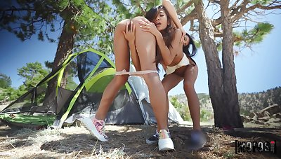 Peachy playmates Milana Ricci and Vina Aerosphere hook up during camping trip