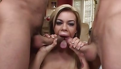Gia Paloma is a gigantic boobed blond who luvs give have three-ways with 2 men