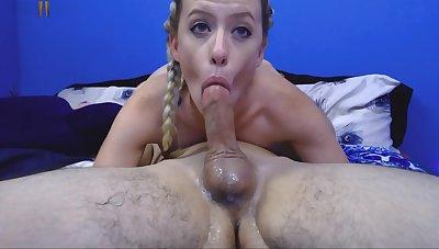 Blonde Girlfriend Handjob Student Cumshot In Mouth