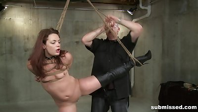 Half-starved brunette Ten Amorette pledged and fucked by a mature dude