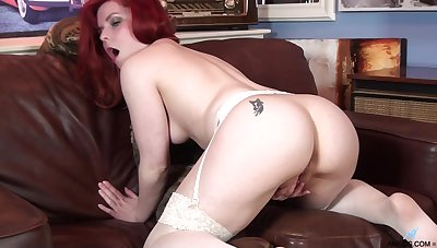 Redhead cougar Poline takes off say no to dress to have some fun