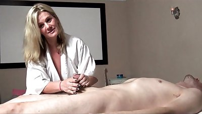 Busty MILF Heather C Payne massaging and blowing a fat cock