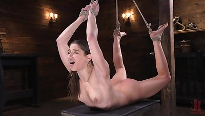 Skinny babe Abella Danger secured up and gets say no to clit and slit pleased