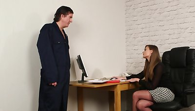 Man gags clothed secretary before shagging her brains gone