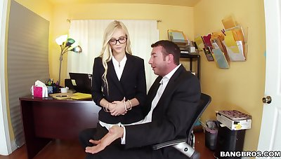 Nerdy office blonde leaves the hot boss fuck her in the ass