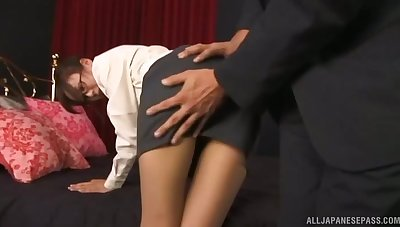 Energized Japanese gets laid in all directions her boss for a bigger more intelligent