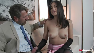 Asian honey handles old man's cock like a real pro