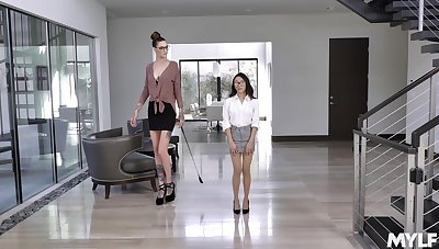 Jasmine Grey enjoys lesbian sex and licking with Rocky Emerson