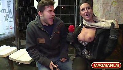 Busty German MILF with big tits enjoys sex in public