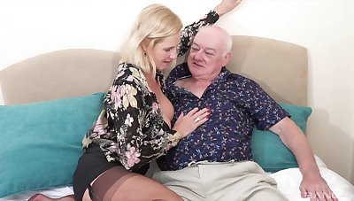 Old man fucks his busty wife on cam
