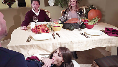 Dad's GIRLFRIEND deep-throat sonny off his under the table